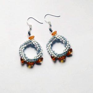 White amber circles earrings
