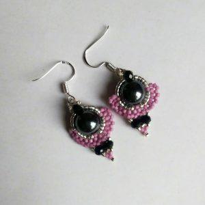 Purple angel Hematite earrings