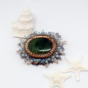 Jade flower brooch