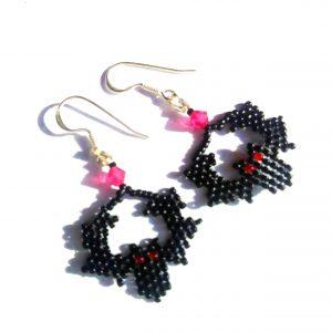 Bat earrings, Gothic black and red style | spooky Halloween earrings