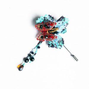 Blue flower Butterfly brooch