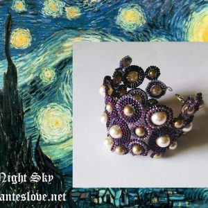 Night sky Swarovski pearls beadwork bracelet elegant for evening