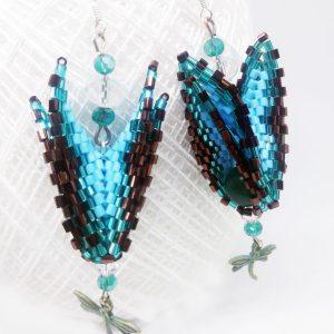 Emerald opal triangle earrings