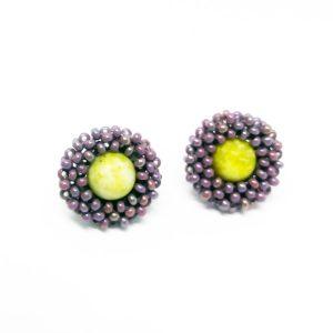 Purple summer flower stud earrings with Aventurine