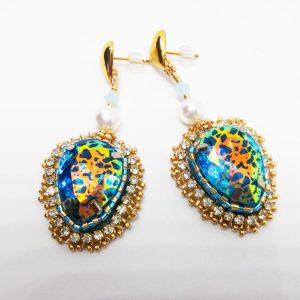 Shiny Blue leopard gold stud earrings