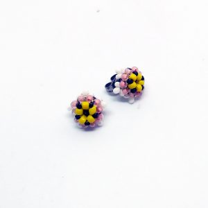 Tiny white flower stud earrings