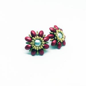 Red Rebeca flower earrings
