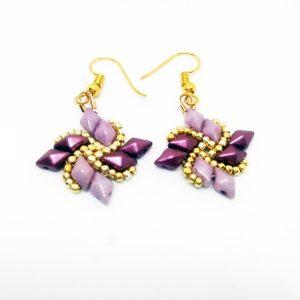 Windmill purple, gold earrings