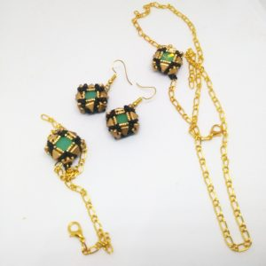 Green mate crystals square earrings and bracelet with pendant