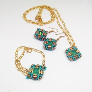 Blink green mint and gold square pendant , bracelet and earrings