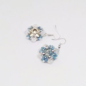 White Swarovski bicones and blue storm square earrings